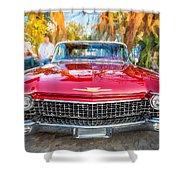 1960 Cadillac Eldorado Biarritz Convertible Painted  Shower Curtain