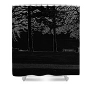 A Bench And Path On The Shore Of Loch Ness In Scotland Shower Curtain