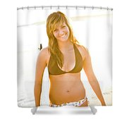 A Surfer Girl Poses For Fun Portraits Shower Curtain