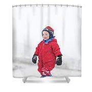 A Two Year Old Boy Plays In A Snowy Shower Curtain
