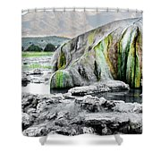 A Woman Sits Alone In Travertine Hot Shower Curtain