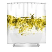 Amsterdam Skyline In Watercolor On White Background Shower Curtain