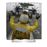 Aviation Boatswains Mate Directs An Shower Curtain