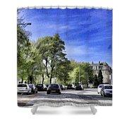 Cars On A Street In Edinburgh Shower Curtain