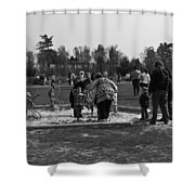 Children Playing Inside The Blair Drummond Safari Park Shower Curtain