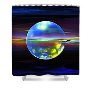 Computer Generated Sphere Abstract Fractal Flame Modern Art Shower Curtain