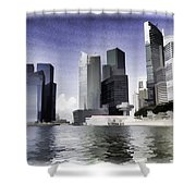 Financial District Of Singapore And View Of The Water In Singapore Shower Curtain