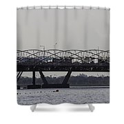 Helix Bridge And Road Bridge Next To Each Other In Singapore Shower Curtain
