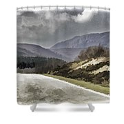 Highway Running Through The Wilderness Of The Scottish Highlands Shower Curtain