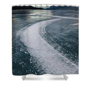 Ice Pattern On Frozen Abraham Lake Shower Curtain