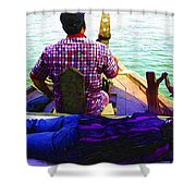 Lady Sleeping While Boatman Steers Shower Curtain