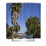 Melbourne Causeway To Indialantic In Central Florida From Geiger Shower Curtain