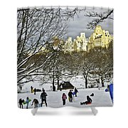 Snowboarding  In Central Park  2011 Shower Curtain