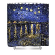 Starry Night Over The Rhone Shower Curtain
