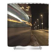Tram At Night Shower Curtain