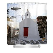 Views From Mykonos Greece Shower Curtain