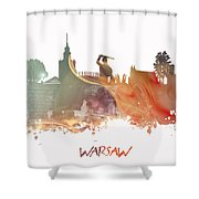 Warsaw City Skyline Shower Curtain