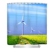 Wind Turbines Shower Curtain