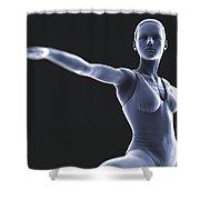 Yoga Warrior II Pose Shower Curtain