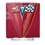63 Corvette Emblem Shower Curtain