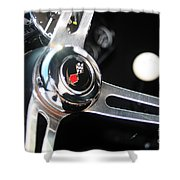 67 Malibu Chevelle Steering Wheel-0055 Shower Curtain