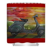 '68 Vespa Piaggio In Its Natural Environment Shower Curtain