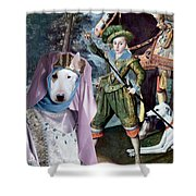 Bull Terrier Art Canvas Print Shower Curtain