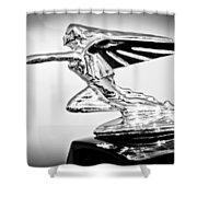 1935 Packard Hood Ornament -0295bw Shower Curtain