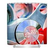 1960 Chevrolet Corvette Steering Wheel Emblem Shower Curtain
