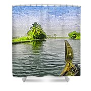 Captain Of The Houseboat Surveying Canal Shower Curtain