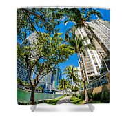 Downtown Miami Brickell Fisheye Shower Curtain