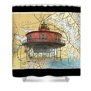 7 Ft Knoll Lighthouse Md Nautical Chart Map Art Cathy Peek Shower Curtain