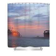 Ghost Ship Glowing Shower Curtain
