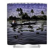 Man Boating On A Salt Water Lagoon Shower Curtain