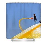 Man Throwing Orange Paint On Boudhanath Stupa Shower Curtain