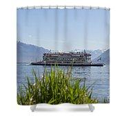 Passenger Ship On An Alpine Lake Shower Curtain