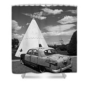 Route 66 Wigwam Motel And Classic Car Shower Curtain