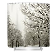 Snow Covered Road And Trees After Winter Storm Shower Curtain