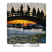 Sunset In Lefkada Town Shower Curtain