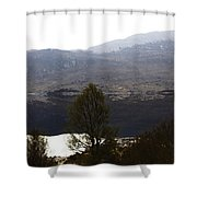 Trees On The Shore Of A Loch And Hills In The Scottish Highlands Shower Curtain