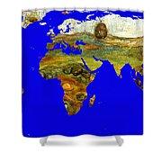 Modern World Map  Shower Curtain