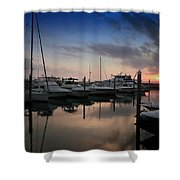 Yachts At Sunset Shower Curtain
