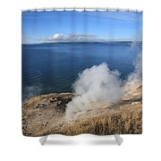 Yellowstone Lake And Geysers Shower Curtain