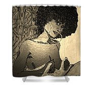 70s Chic Sepia Shower Curtain