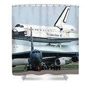 747 Transporting Discovery Space Shuttle Shower Curtain