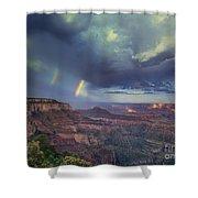 749220049 Double Rainbow Cape Royal North Rim Grand Canyon National Park Shower Curtain