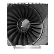 757 Engine Black And White Shower Curtain