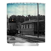 760 Train Engine Passing The Station Sc Textured Shower Curtain