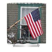 #762 D68 American Flag Winter Shower Curtain