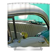 #766 D86 Mini Holiday Oldsmobile Antique Cars  Shower Curtain